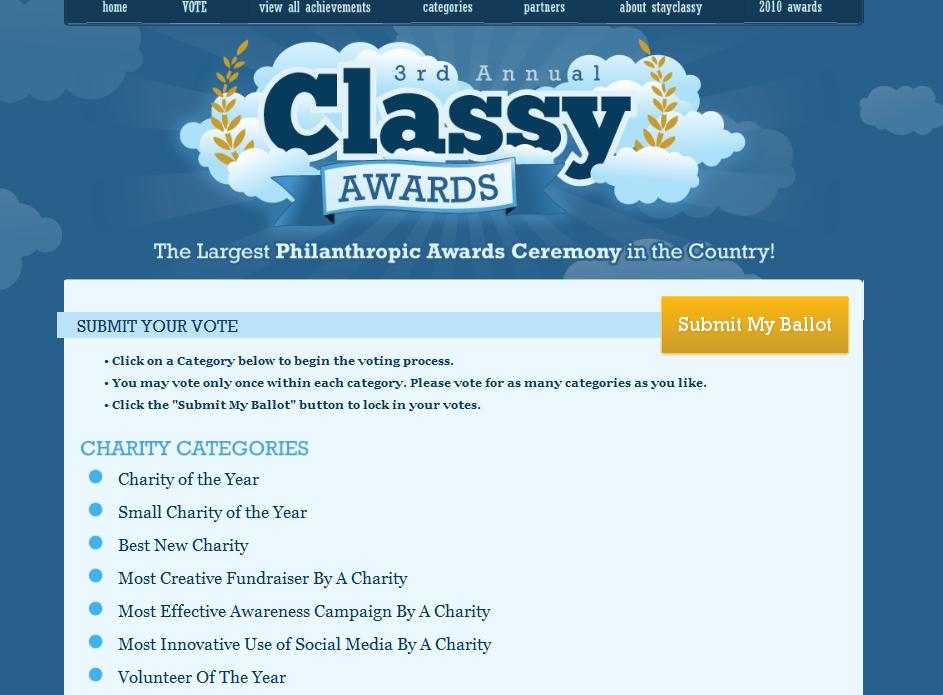 The CLASSY Awards is the largest philanthropic awards ceremony in the country, recognizing the most outstanding philanthropic achievements by charities, businesses and individuals nationwide