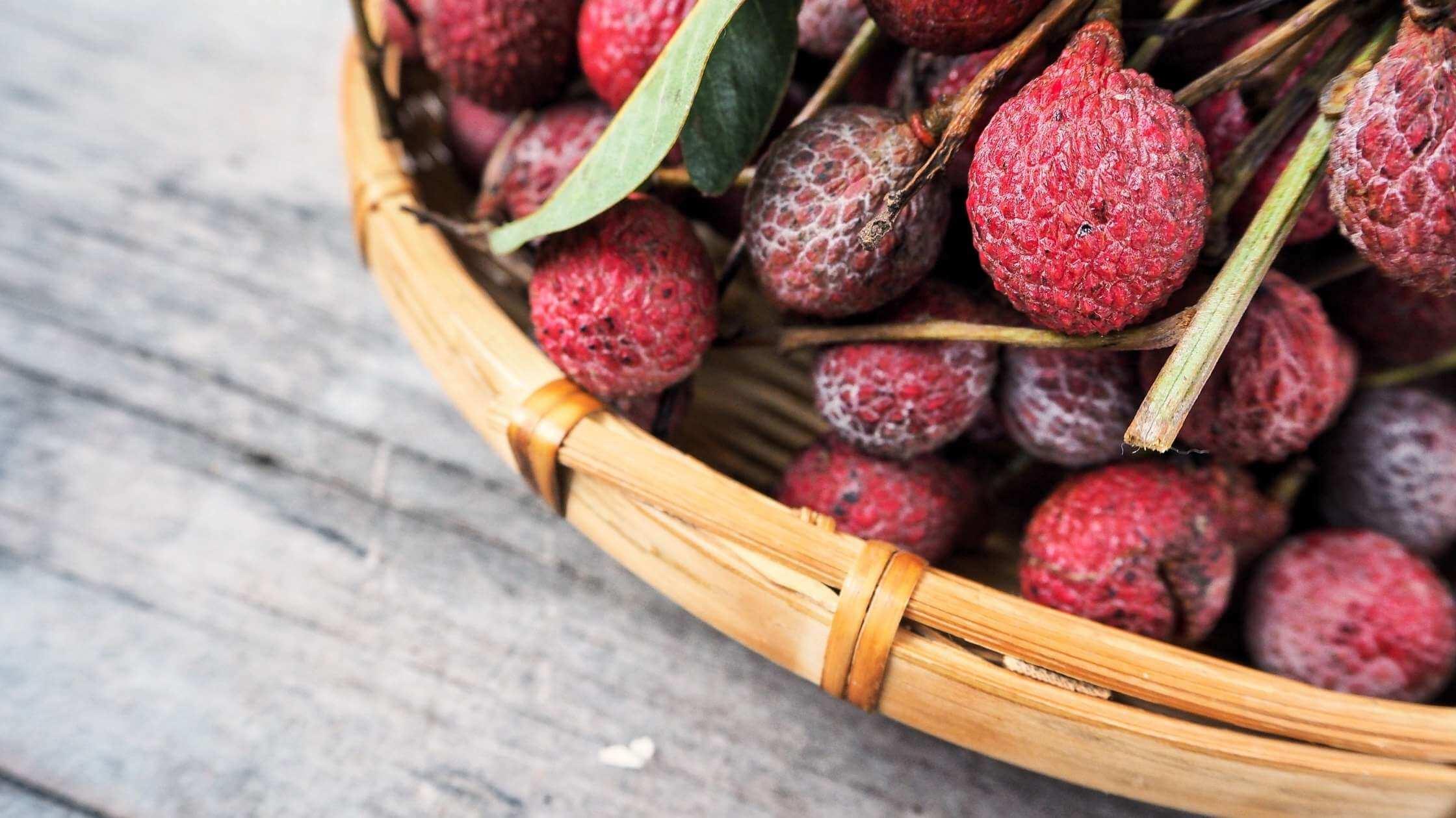 basket of lychee fruit