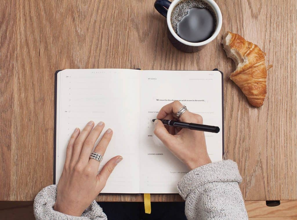 overhead view of hands writing in notebook, coffee and croissant on table