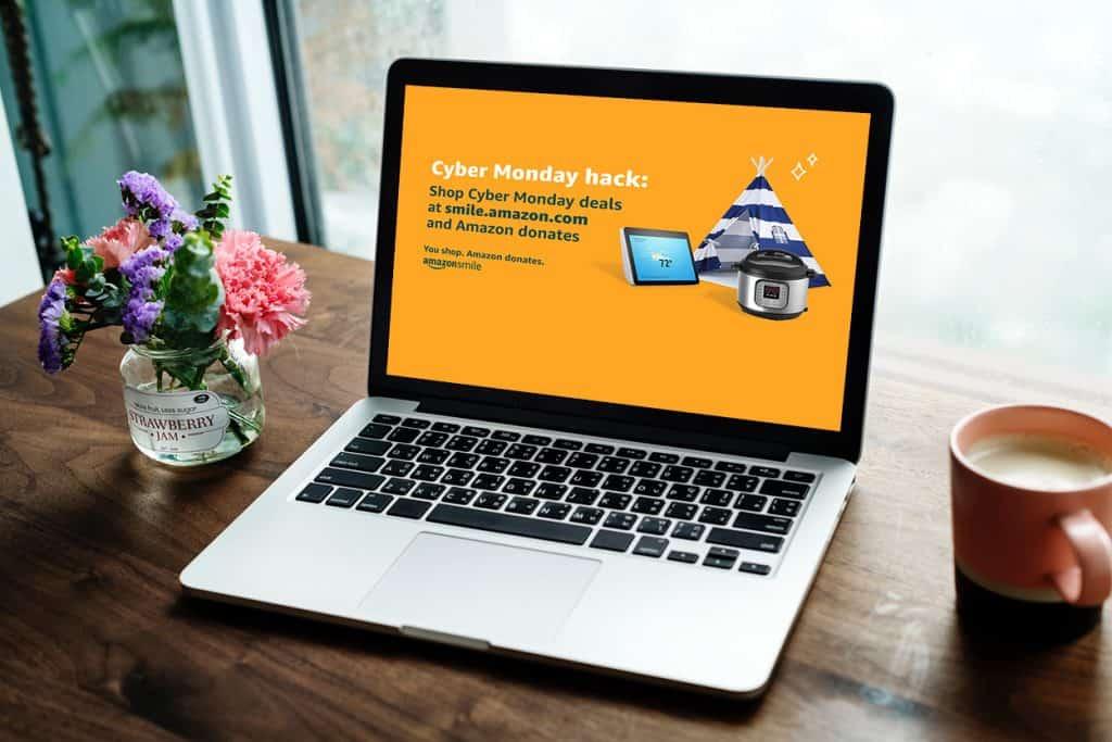 laptop open on a desk