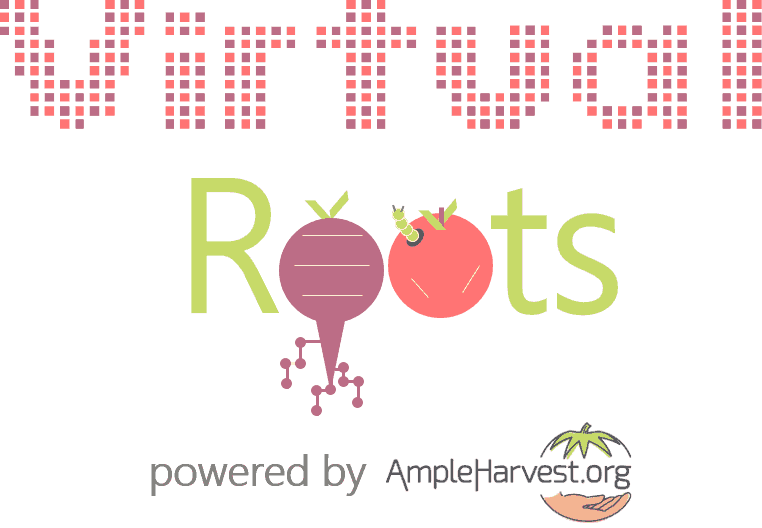 logo for virtual roots, root vegetables make up the letter o