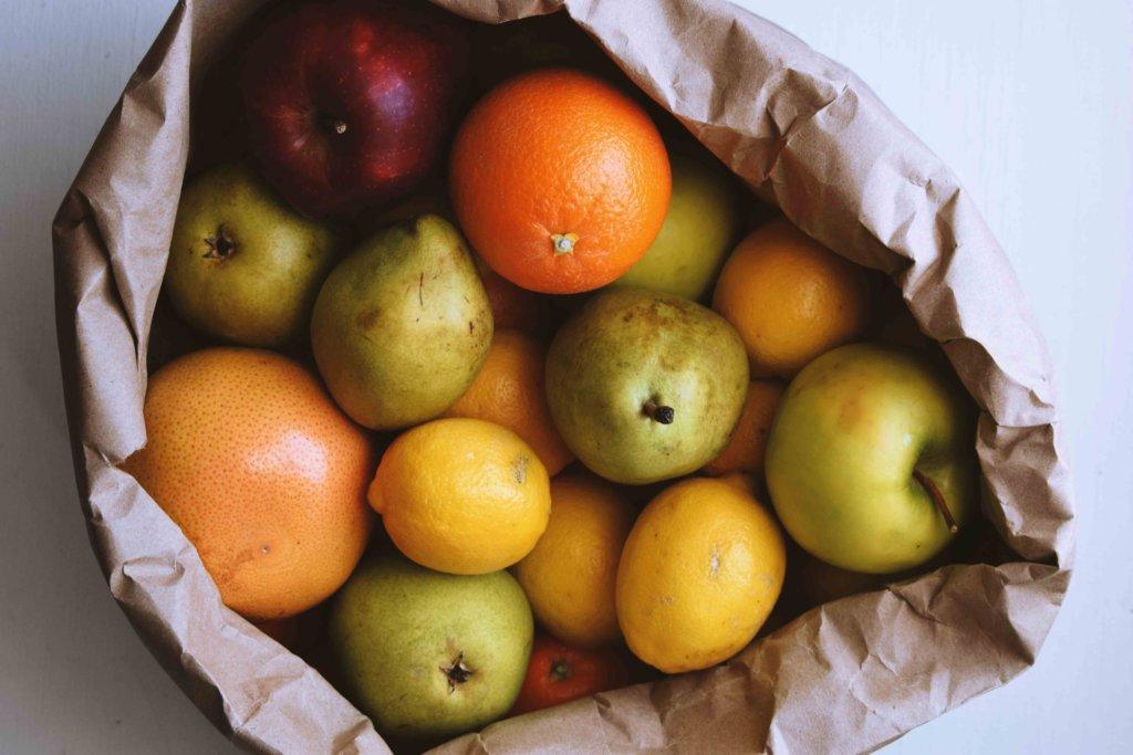 paper bag full of produce