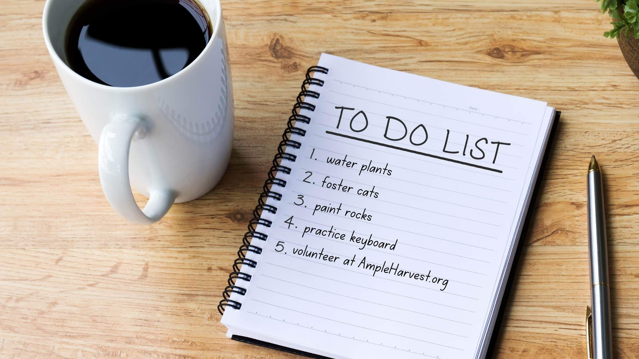 handwritten to-do list and cup of coffee