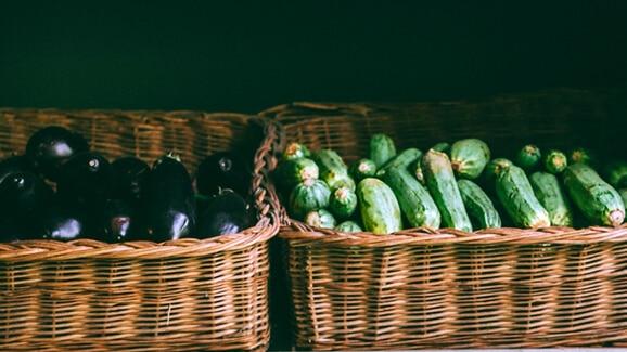baskets of assorted vegetables